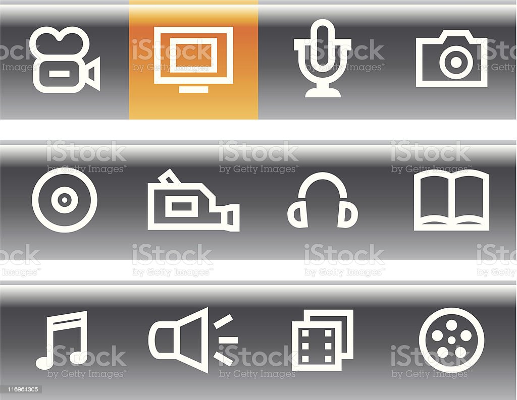 Media - Vector Icons Set royalty-free stock vector art