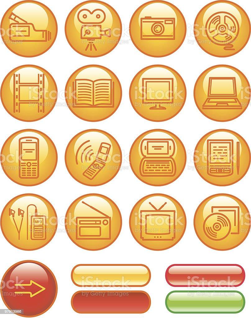 Media - Vector Icons Set vector art illustration