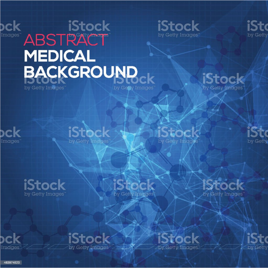 Medical abstract background. Abstract polygonal space low poly dark background vector art illustration