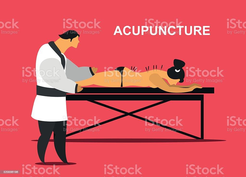 medical acupuncture treatment vector art illustration