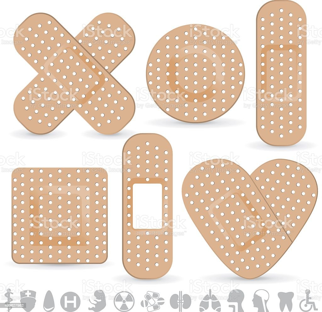 Medical adhesive bandage vector art illustration