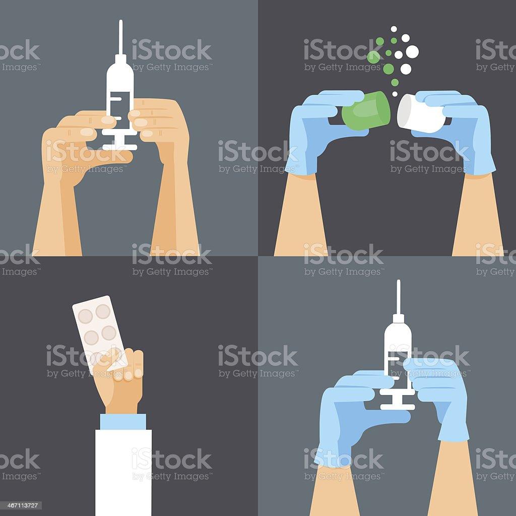 Medical and health care design elements vector art illustration