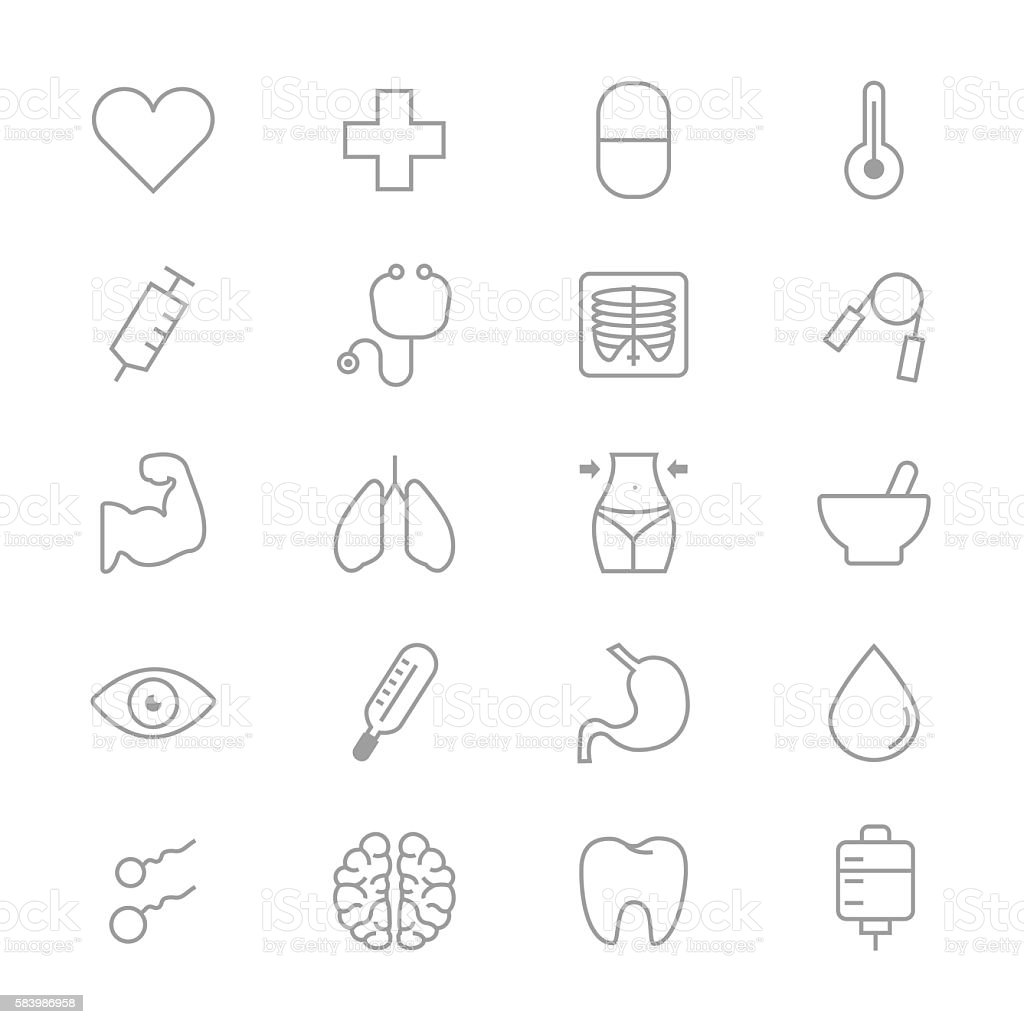 Medical and Health Care Fitness Set Of Healthy Icons Line vector art illustration