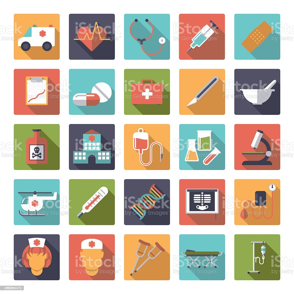 Medical and Health Care Flat Design Vector Icons Collection vector art illustration