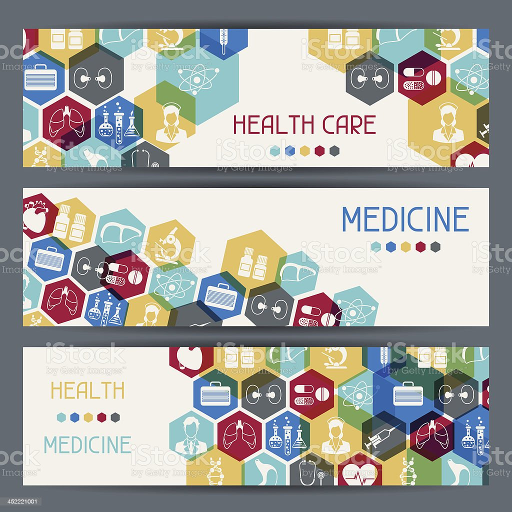 Medical and health care horizontal banners. royalty-free stock vector art