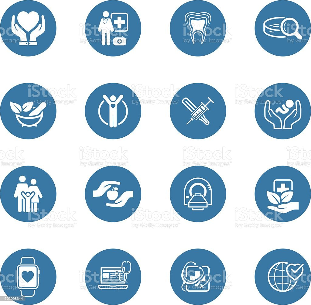Medical and Health Care Icons Set. Flat Design. vector art illustration
