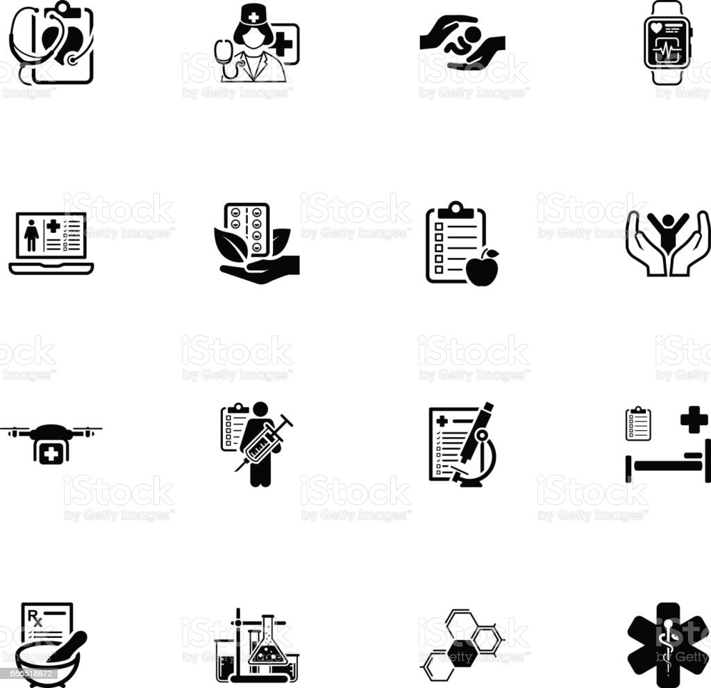 Medical and Health Care Icons Set. Flat Design vector art illustration