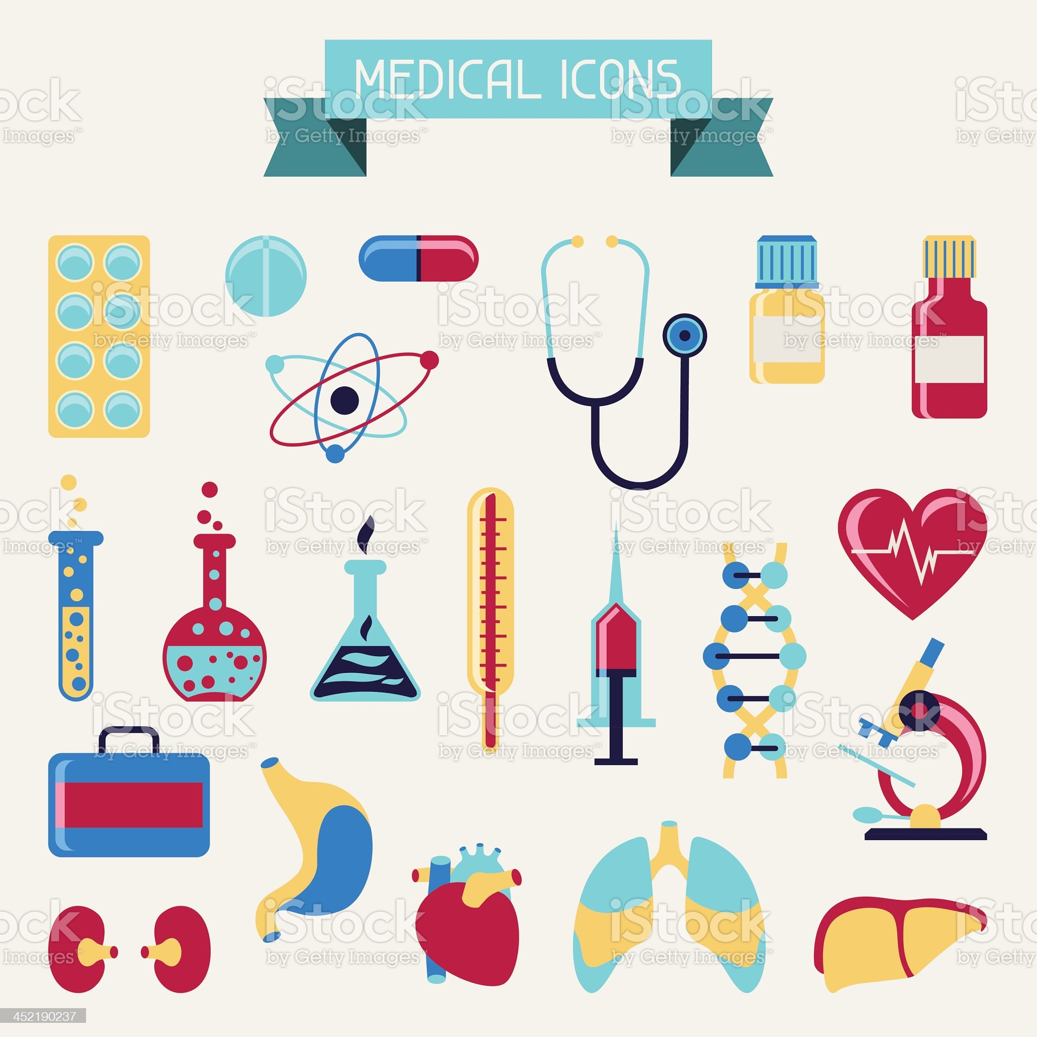 Medical and health care icons set. royalty-free stock vector art