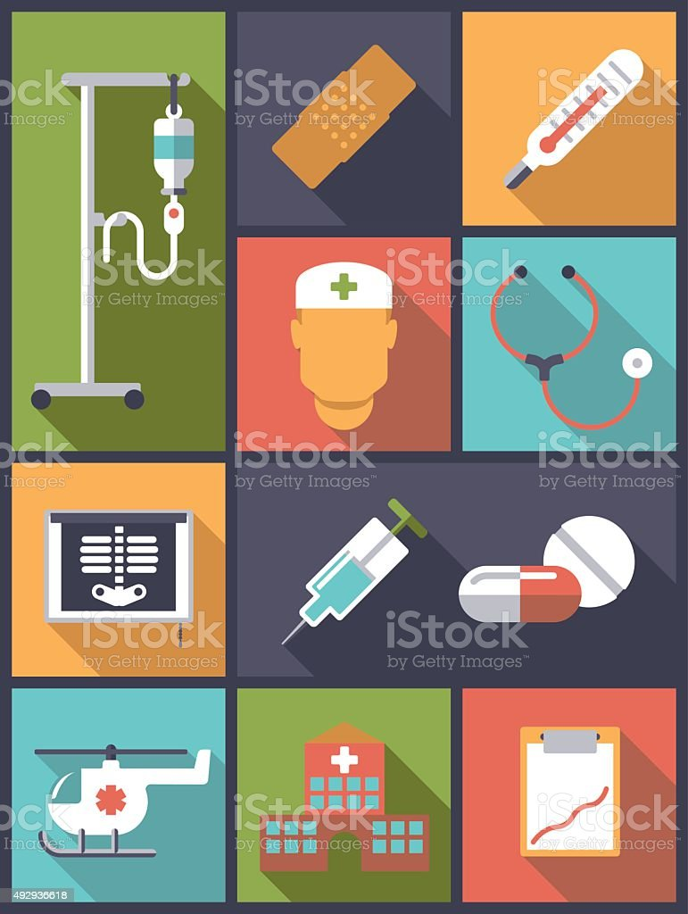 Medical and health care icons vector illustration. vector art illustration