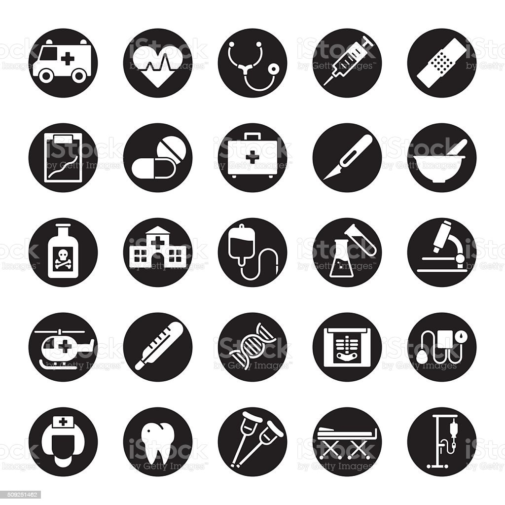 Medical and Health Care Round Vector Icon Set vector art illustration