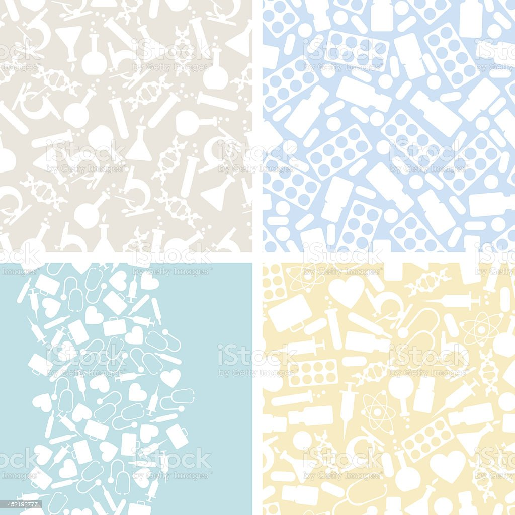 Medical and health care set of 4 seamless patterns. royalty-free stock vector art