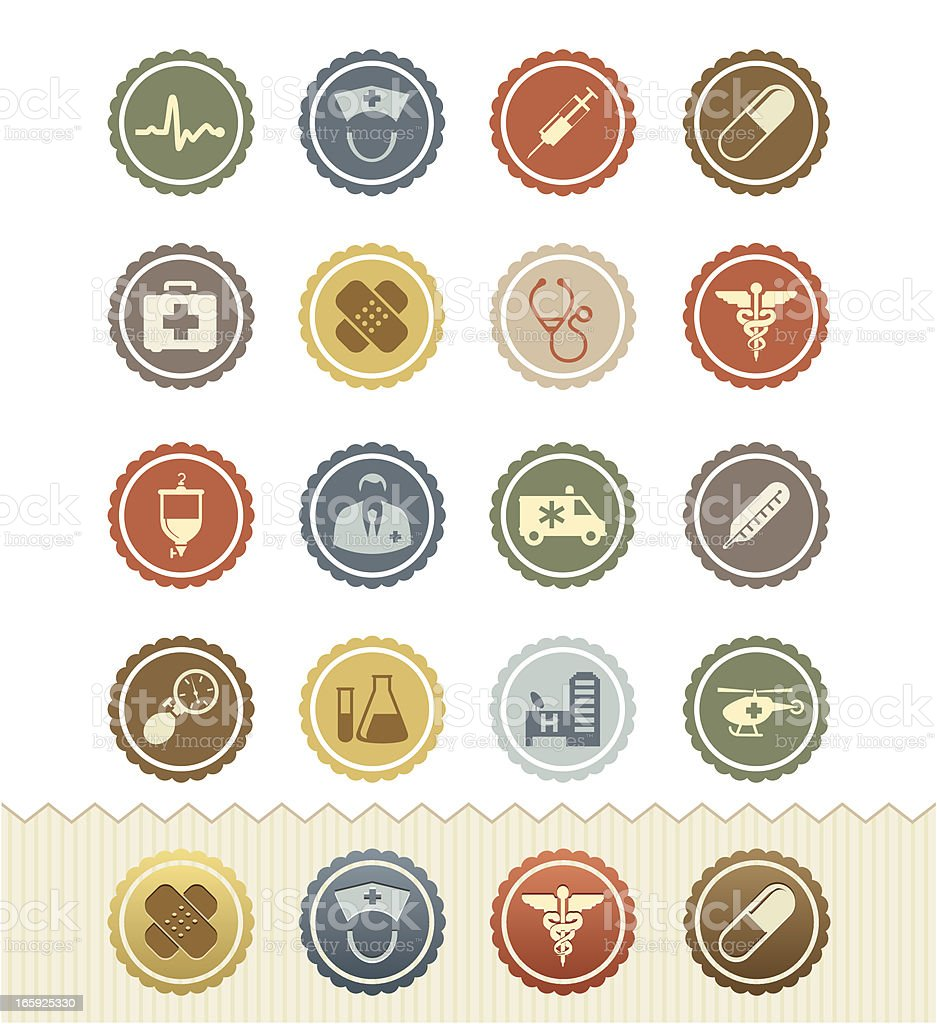 Medical and Health Icons : Vintage Badge Series royalty-free stock vector art