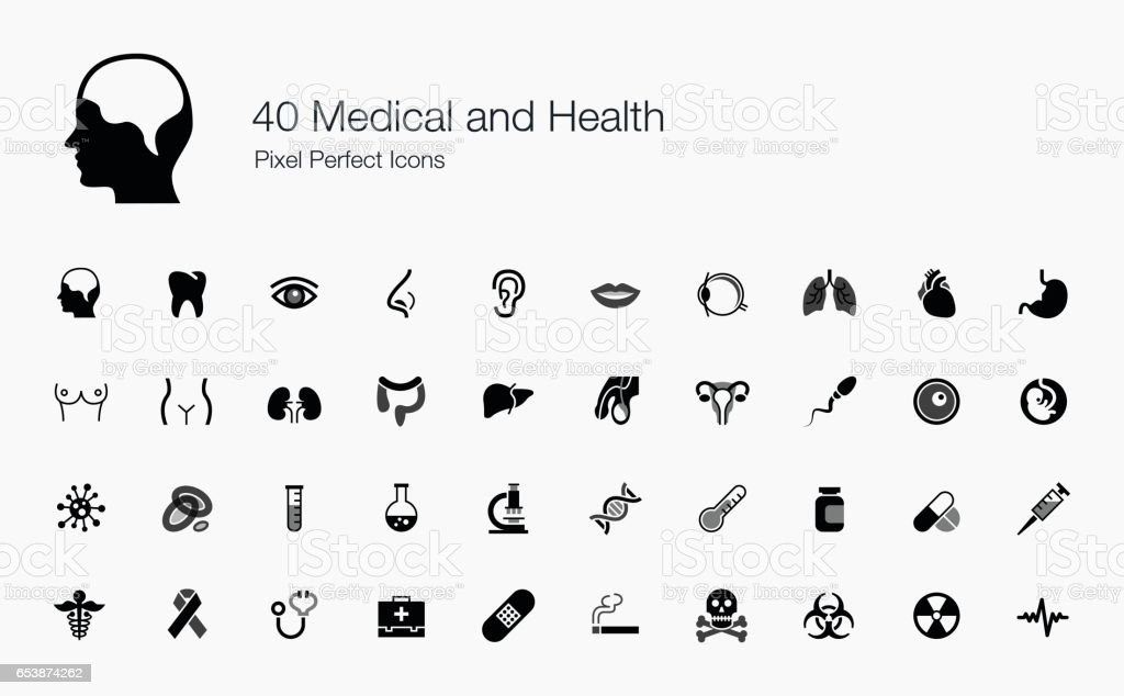 40 Medical and Health Pixel Perfect Icons vector art illustration