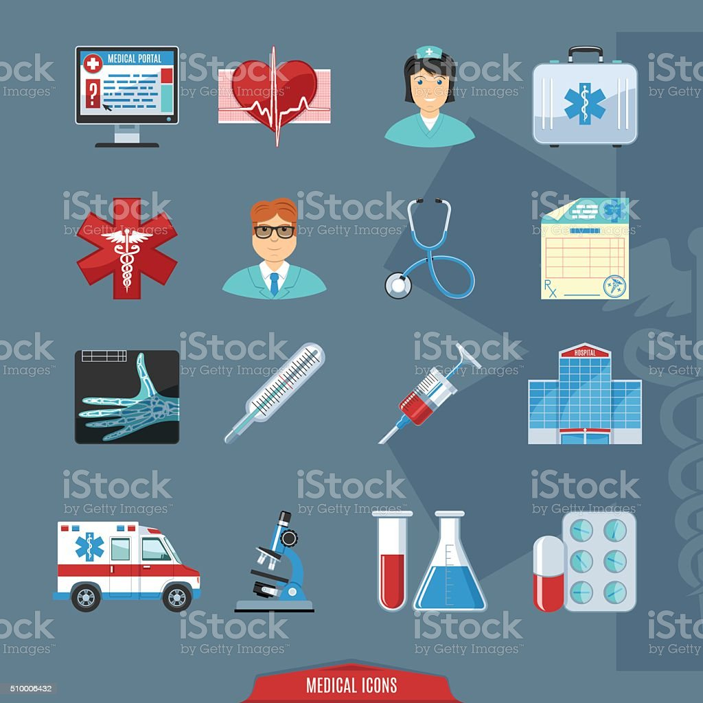 Medical And Healthcare Colorful Icons vector art illustration