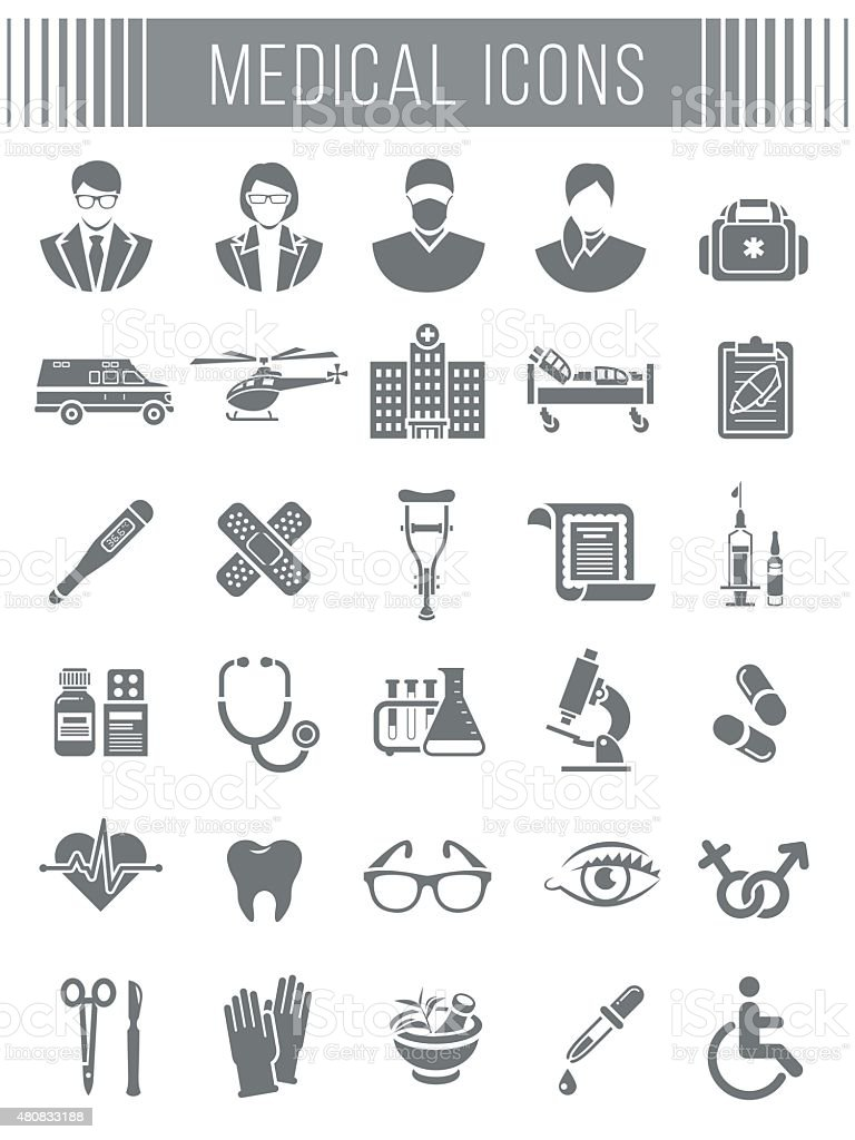 Medical and healthcare icons silhouettes vector art illustration