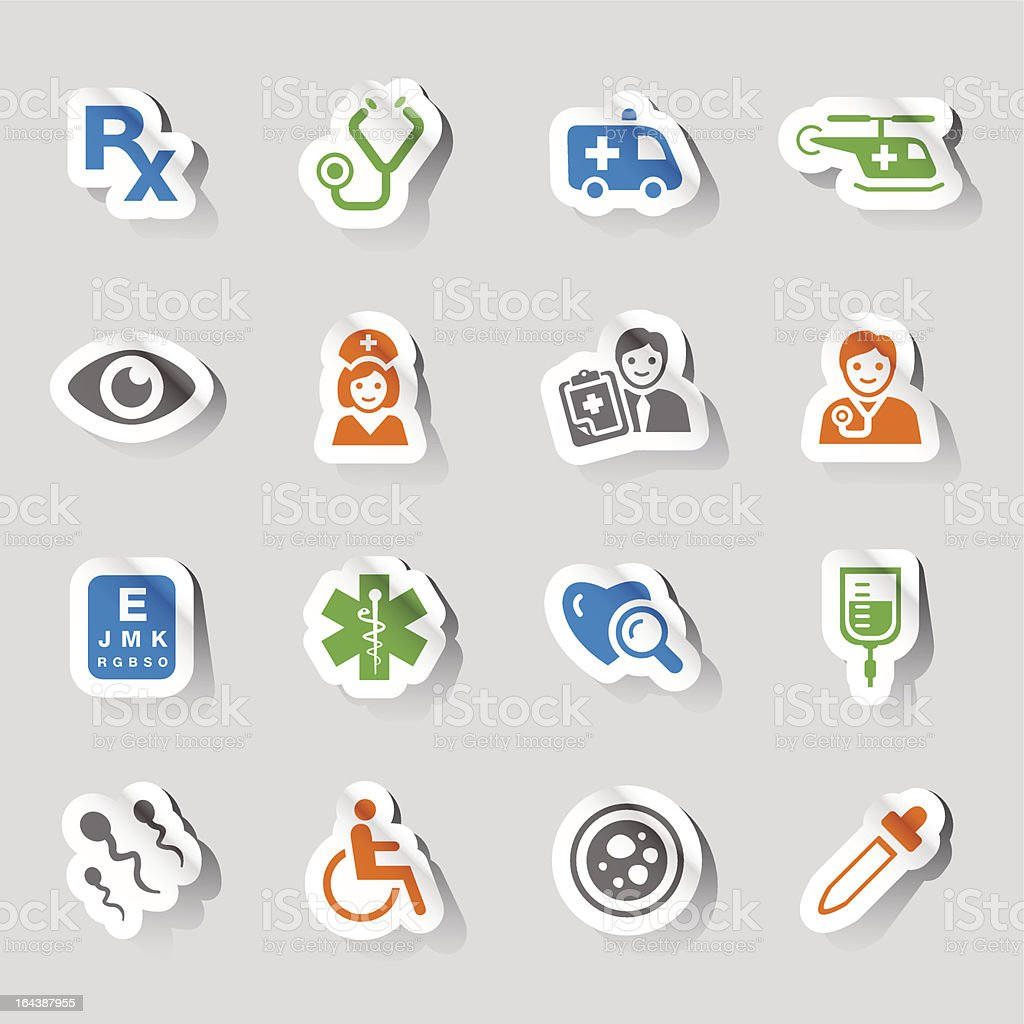 Medical and healthcare related stickers royalty-free stock vector art