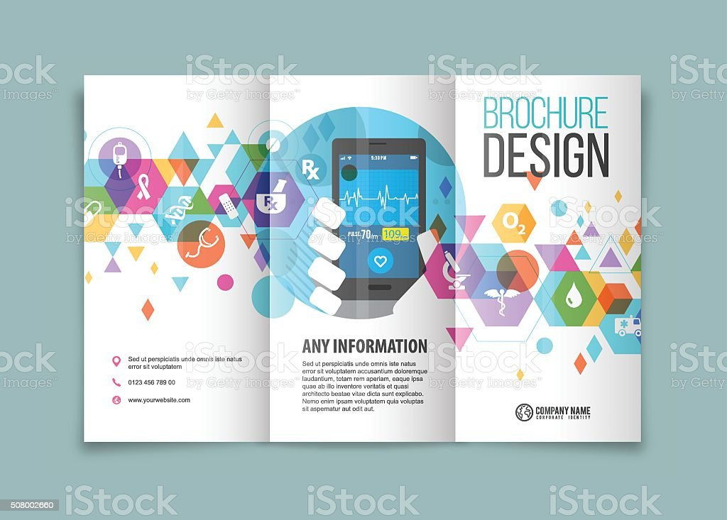 Medical and healthcare trifold vector art illustration