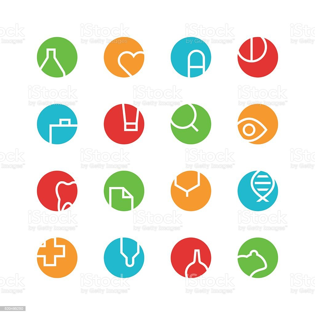 Medical and laboratory colored icon set vector art illustration