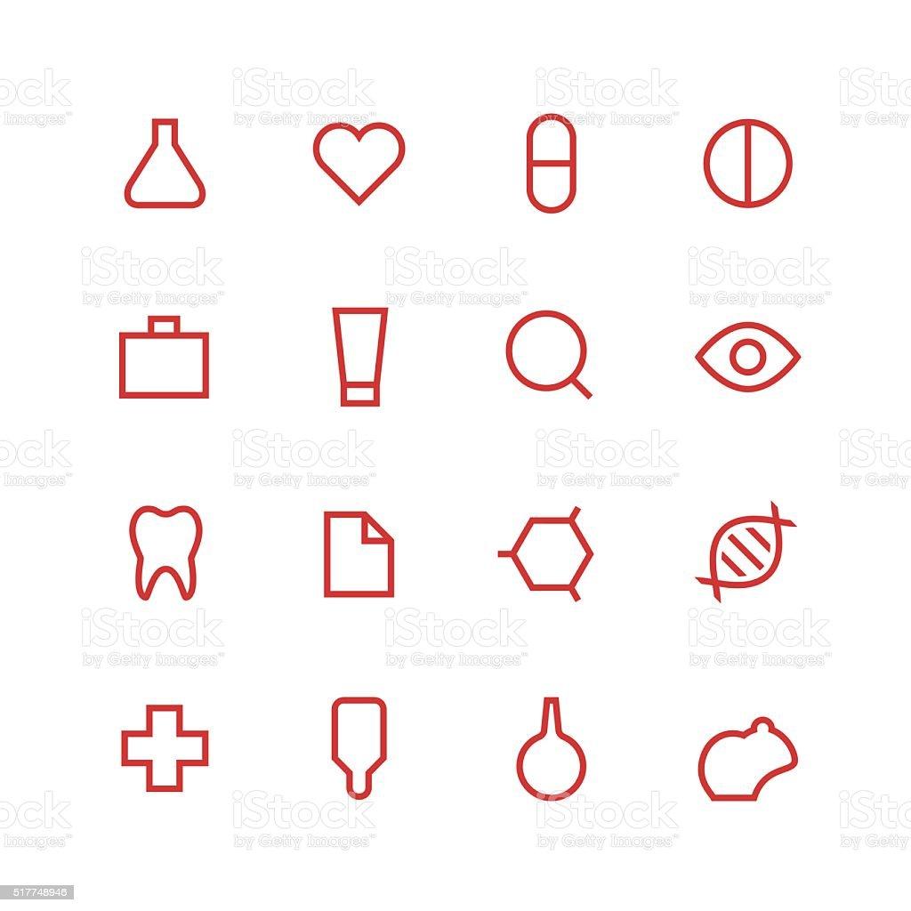 Medical and laboratory icon set vector art illustration