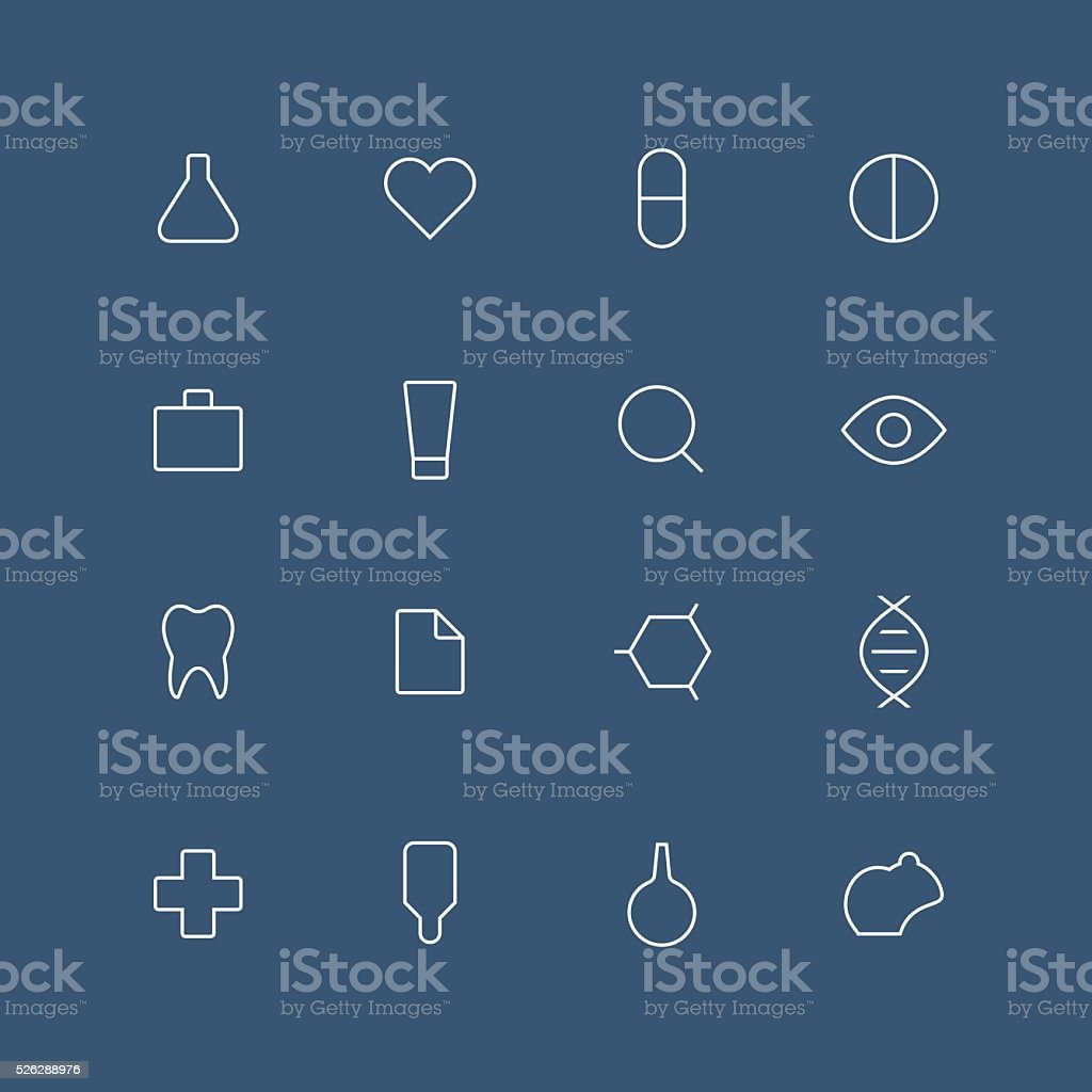 Medical and laboratory thin outline icon set vector art illustration