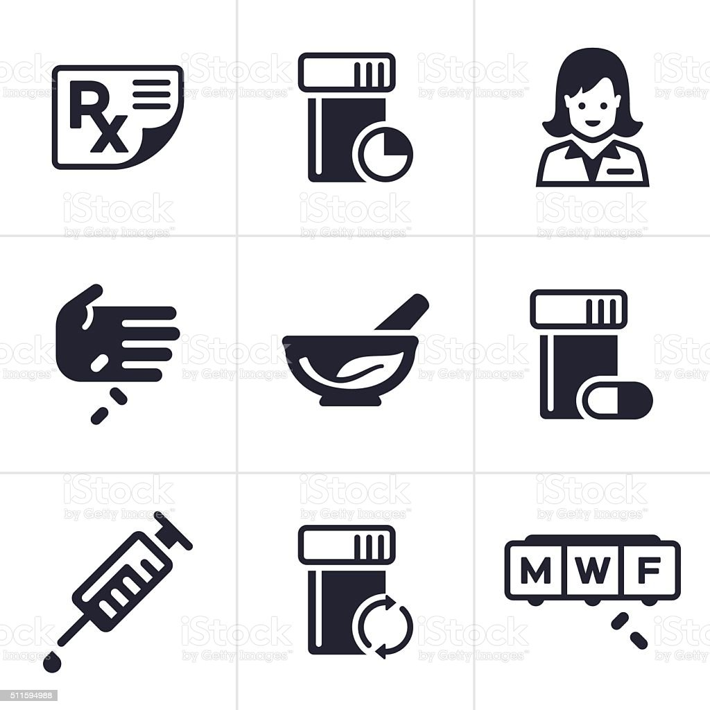 Medical and Pharmacy Icons and Symbols vector art illustration
