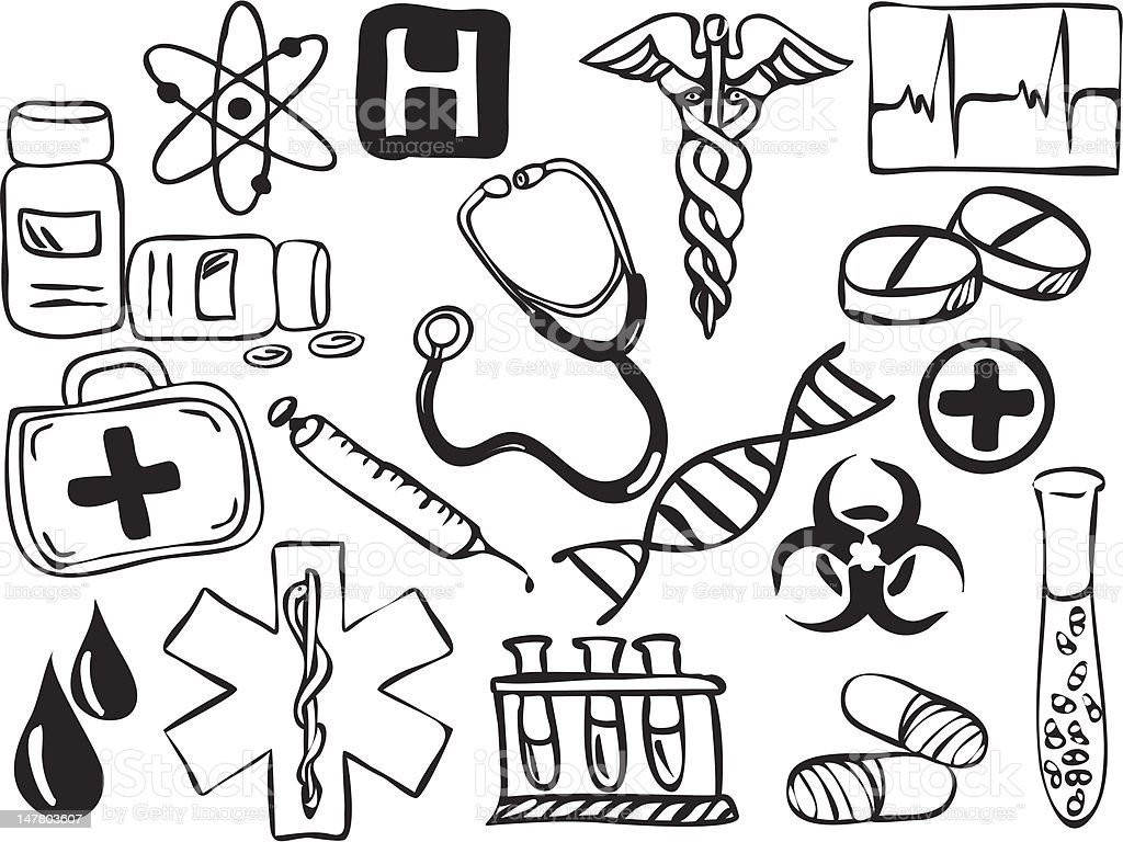 Medical and pharmacy icons royalty-free stock vector art