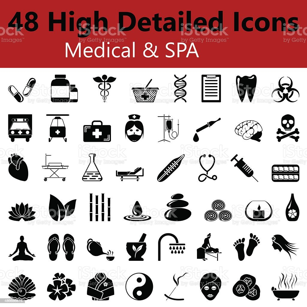 Medical and SPA Smooth Icons vector art illustration
