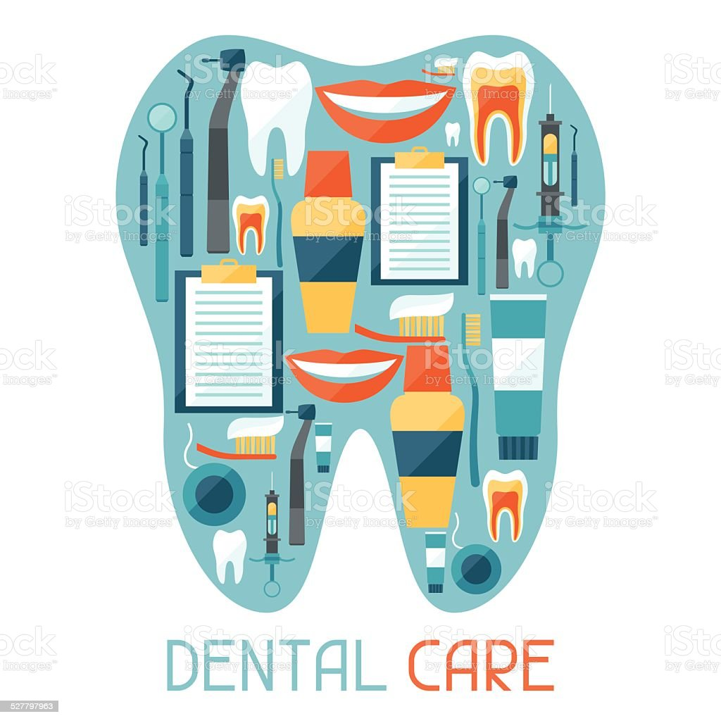 Medical background design with dental equipment icons. vector art illustration