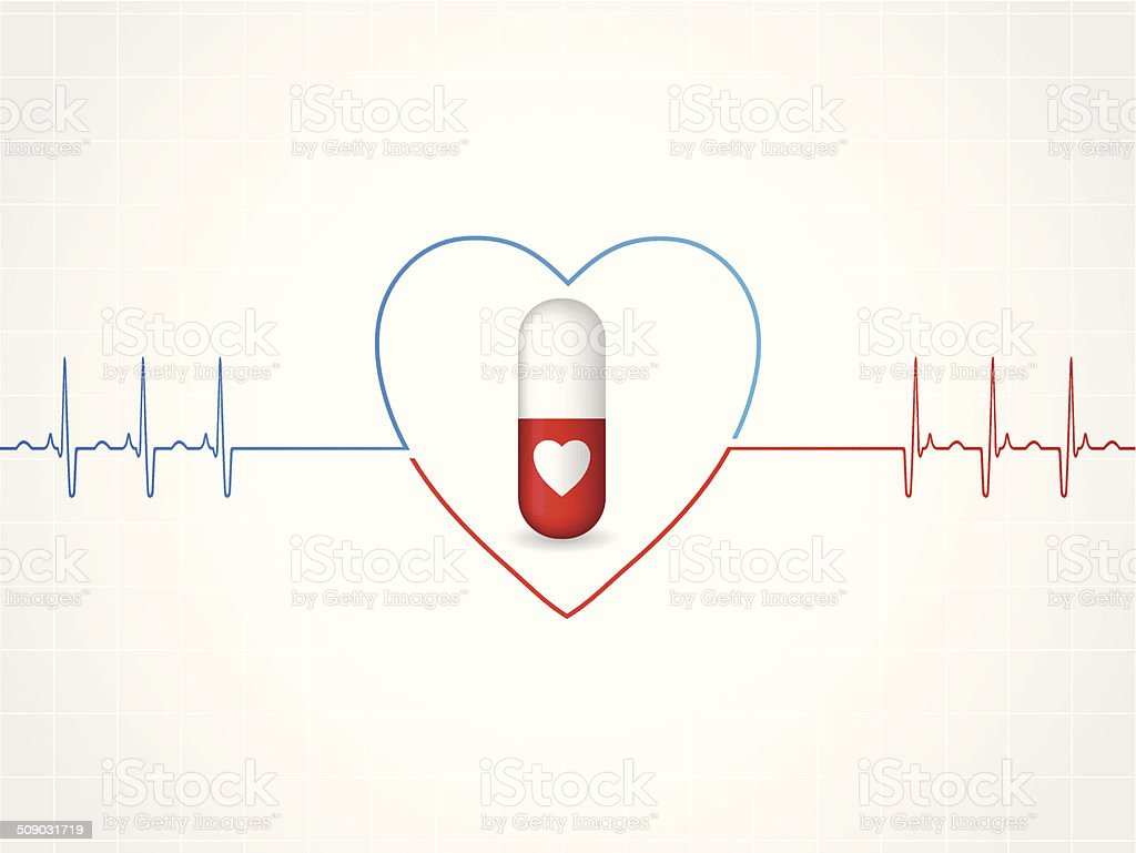Medical background design with heart pill royalty-free stock vector art
