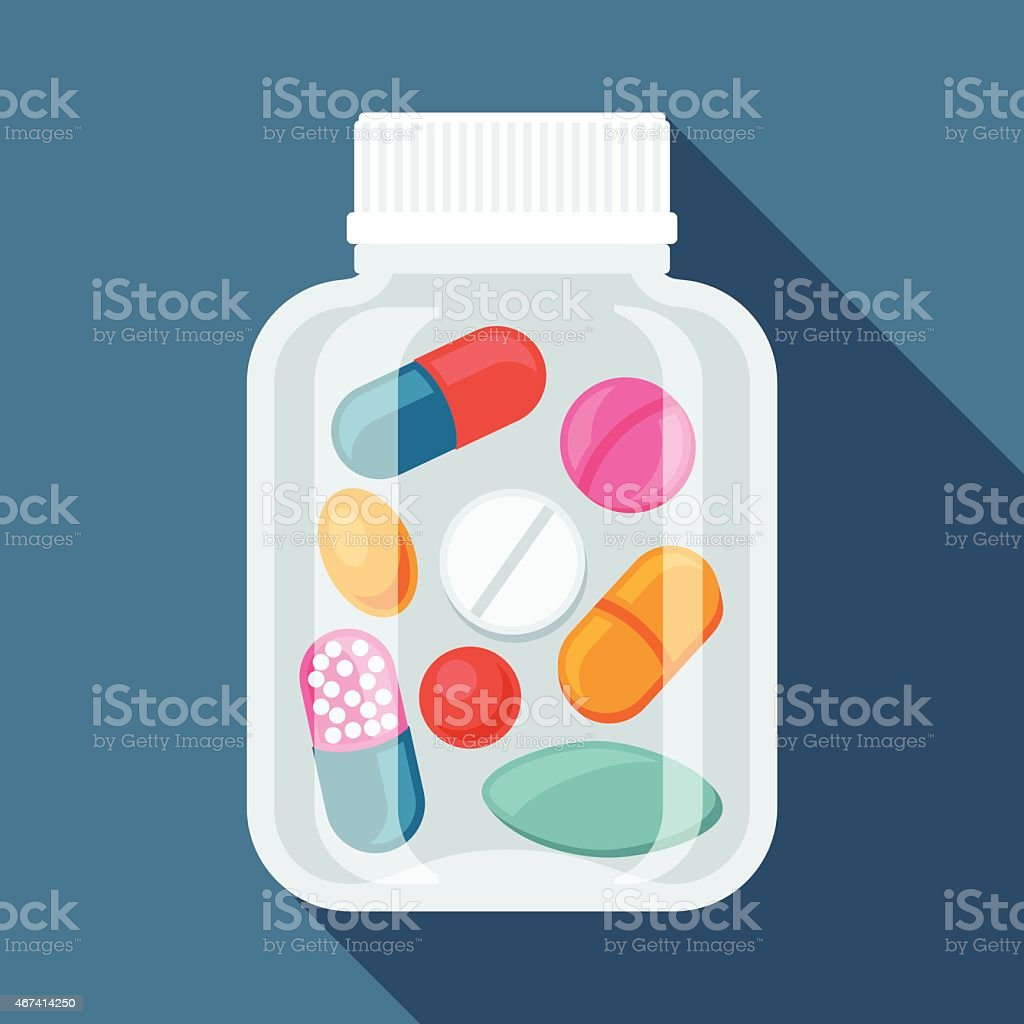 Medical background with pills and capsules in bottle vector art illustration