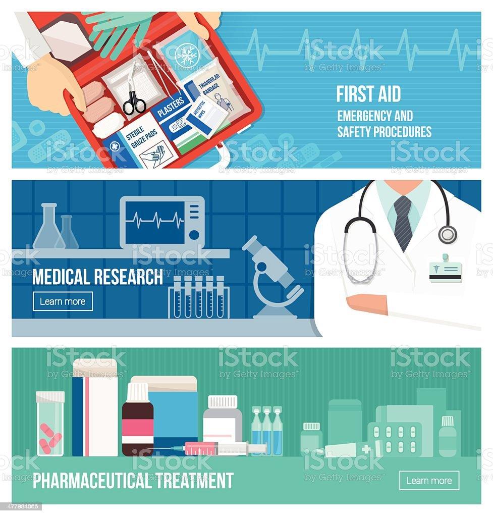 Medical banner set vector art illustration