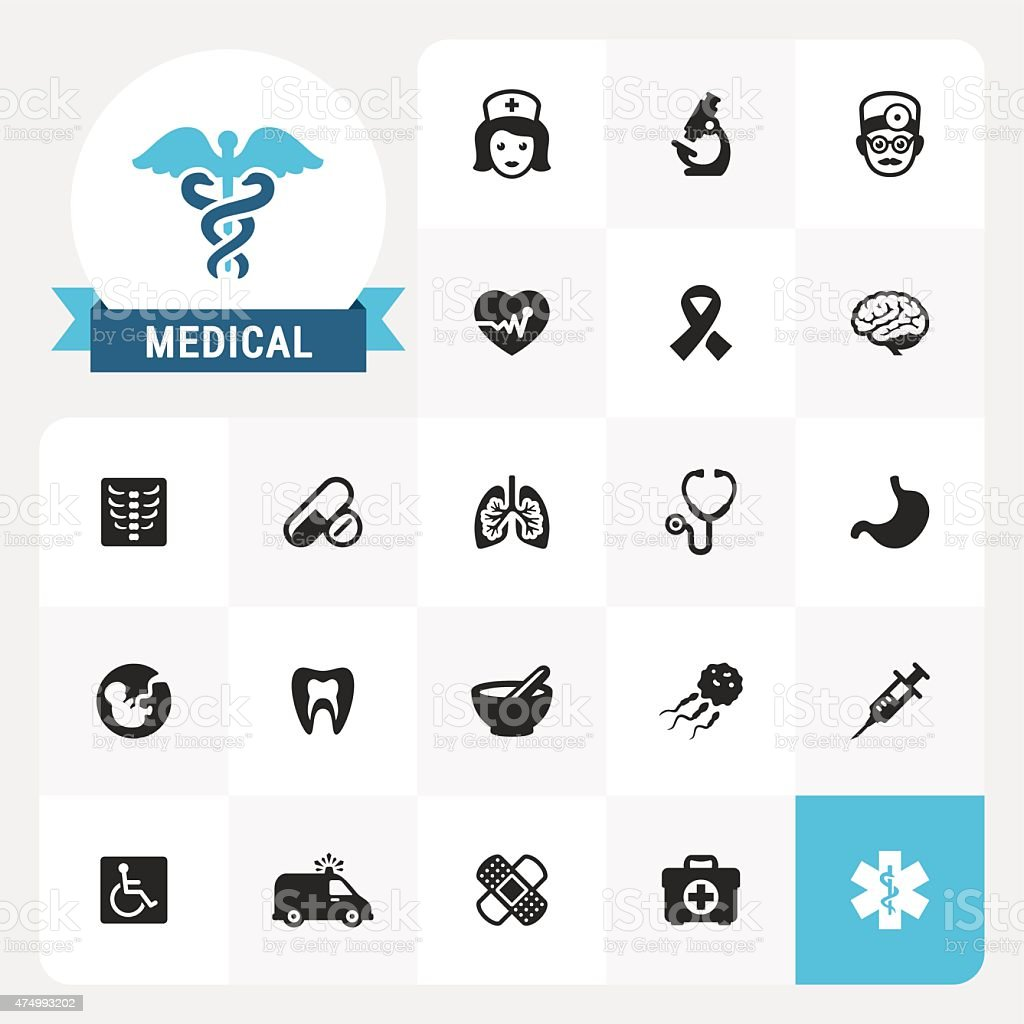 Medical base vector icons and label vector art illustration
