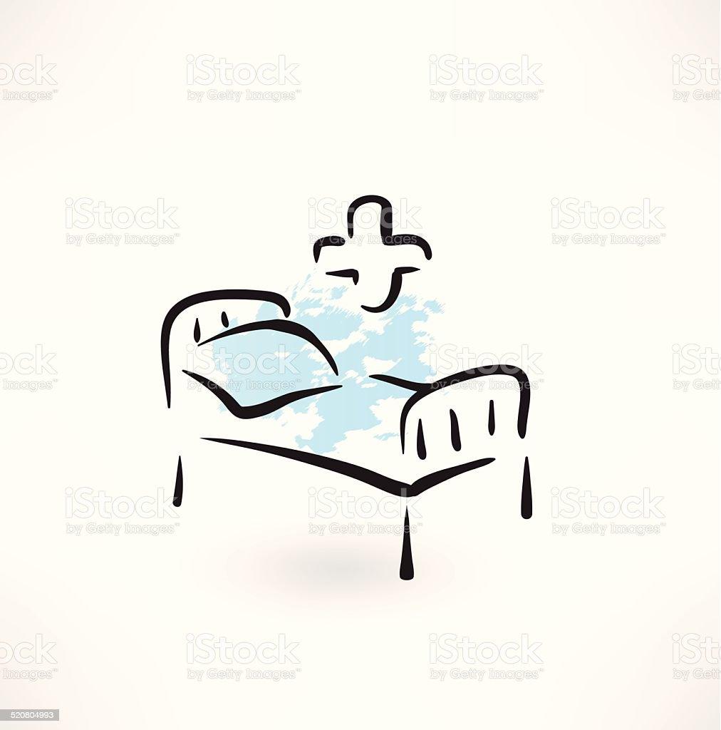 medical bed grunge icon vector art illustration