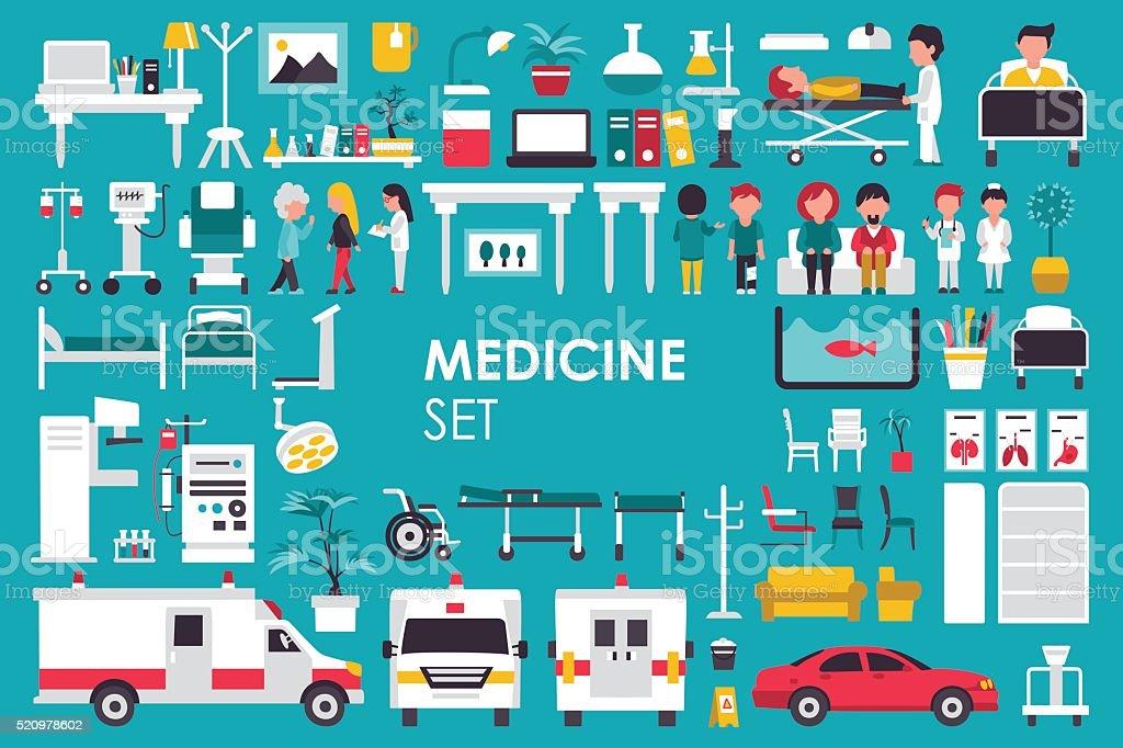 Medical Big Collection in flat design background concept. Infographic elements vector art illustration