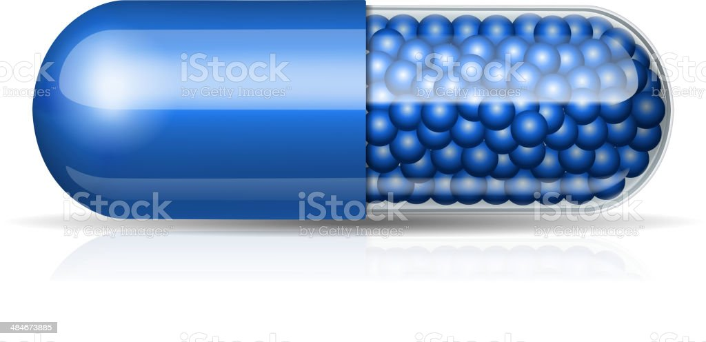 Medical blue capsule with granules vector art illustration