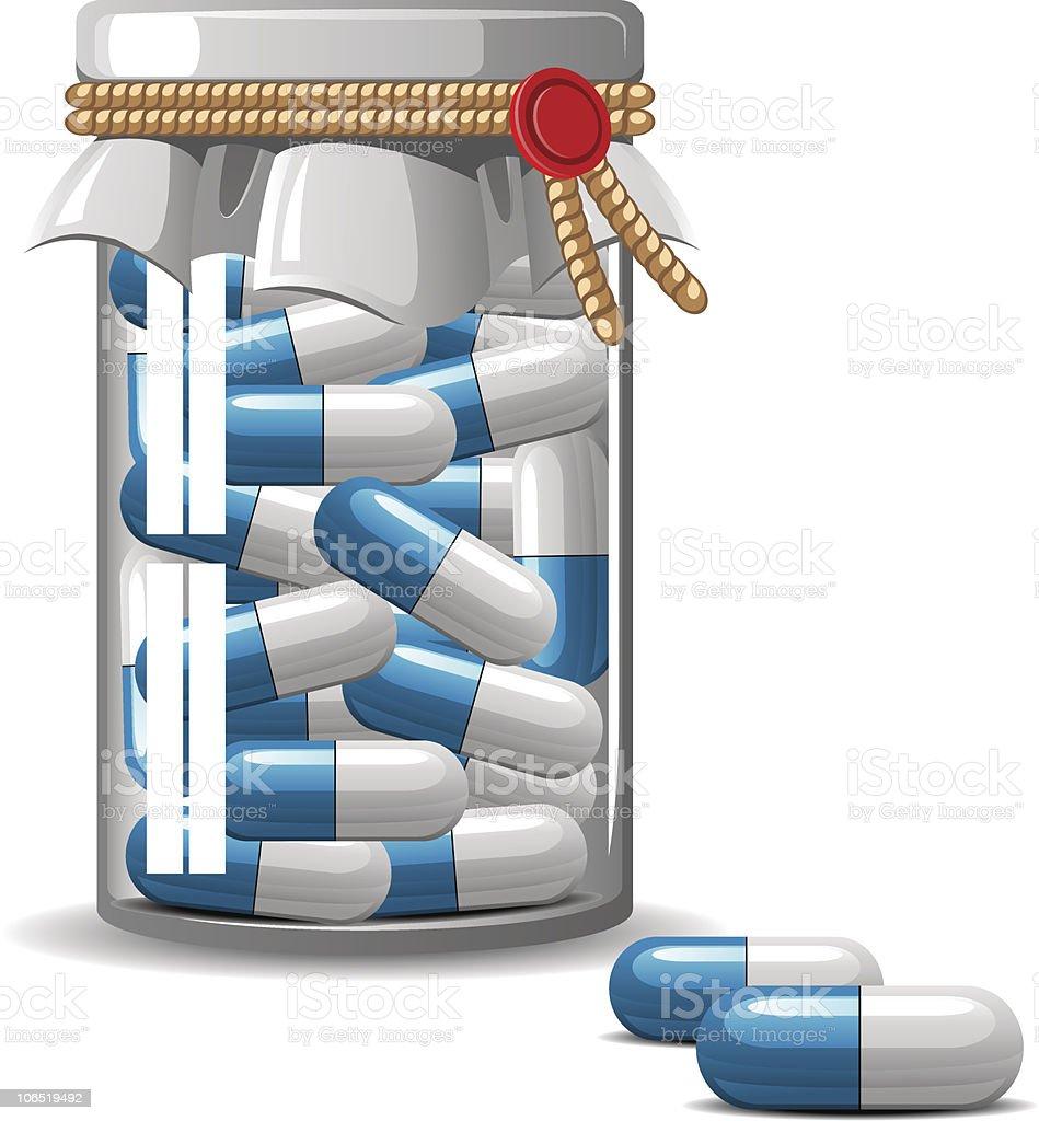 Medical bottle caps vector art illustration