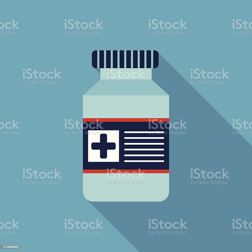Medical Bottle Flat style Icon with long shadows vector art illustration