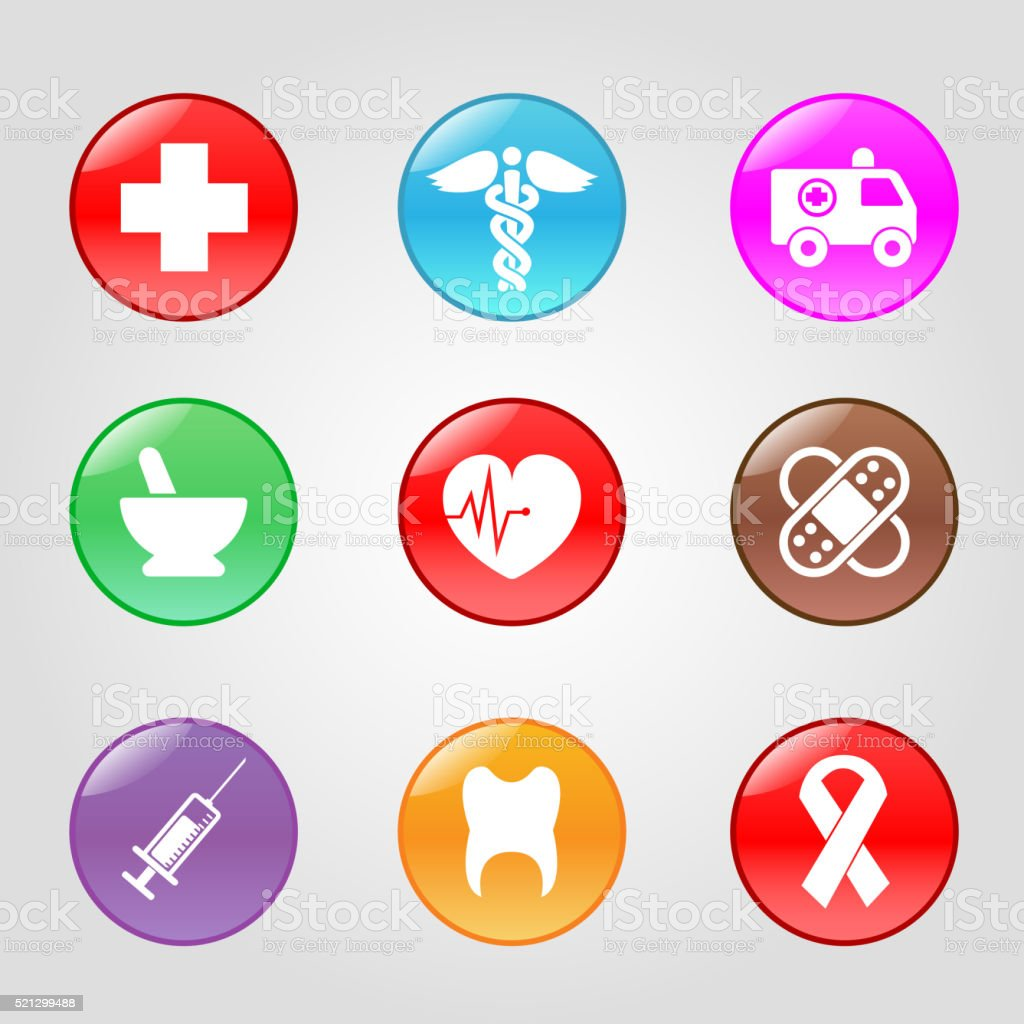 medical button vector art illustration