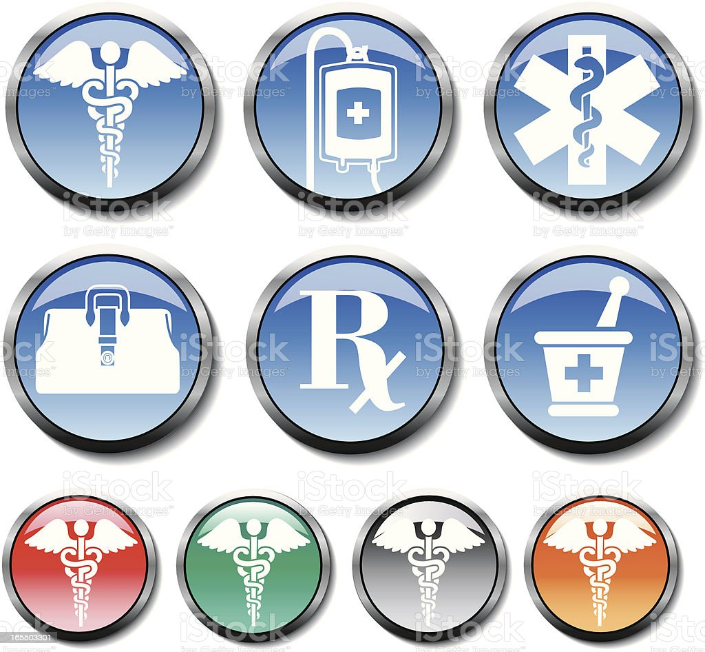 medical buttons royalty-free stock vector art
