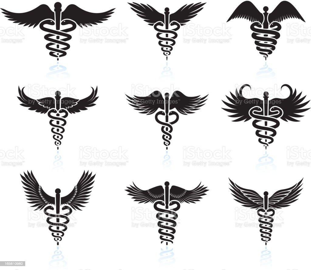 Medical Caduceus black & white royalty free vector icon set royalty-free stock vector art