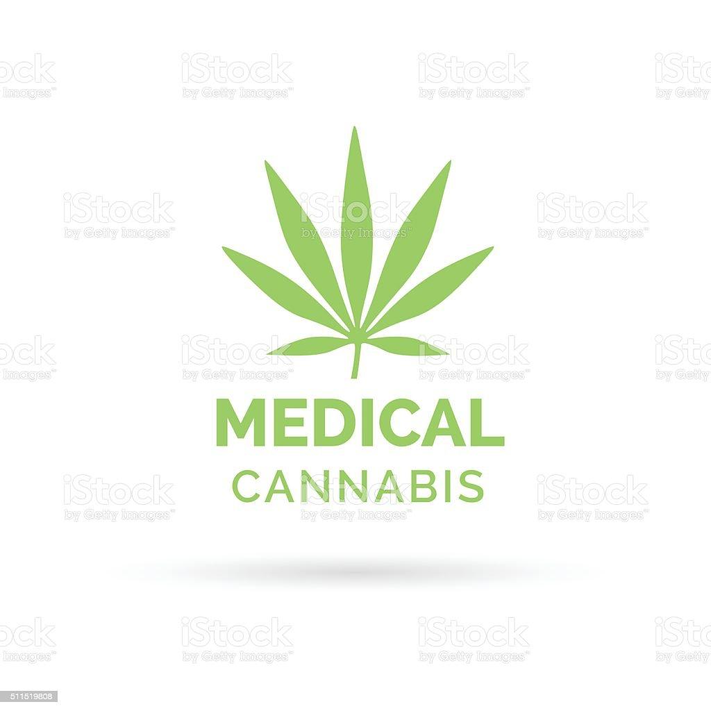 Medical Cannabis icon design with Marijuana hemp leaf symbol vector art illustration