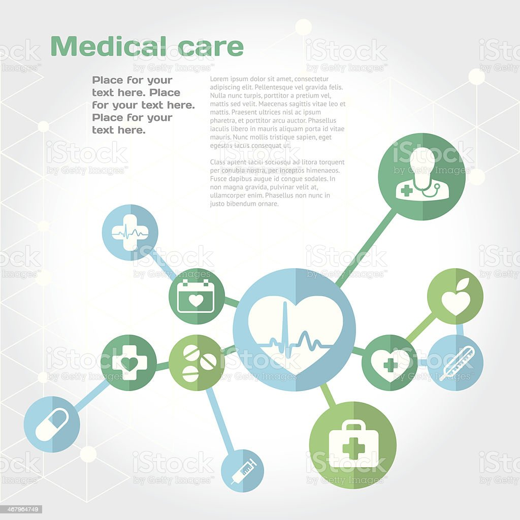 Medical care background with flat icon set vector art illustration