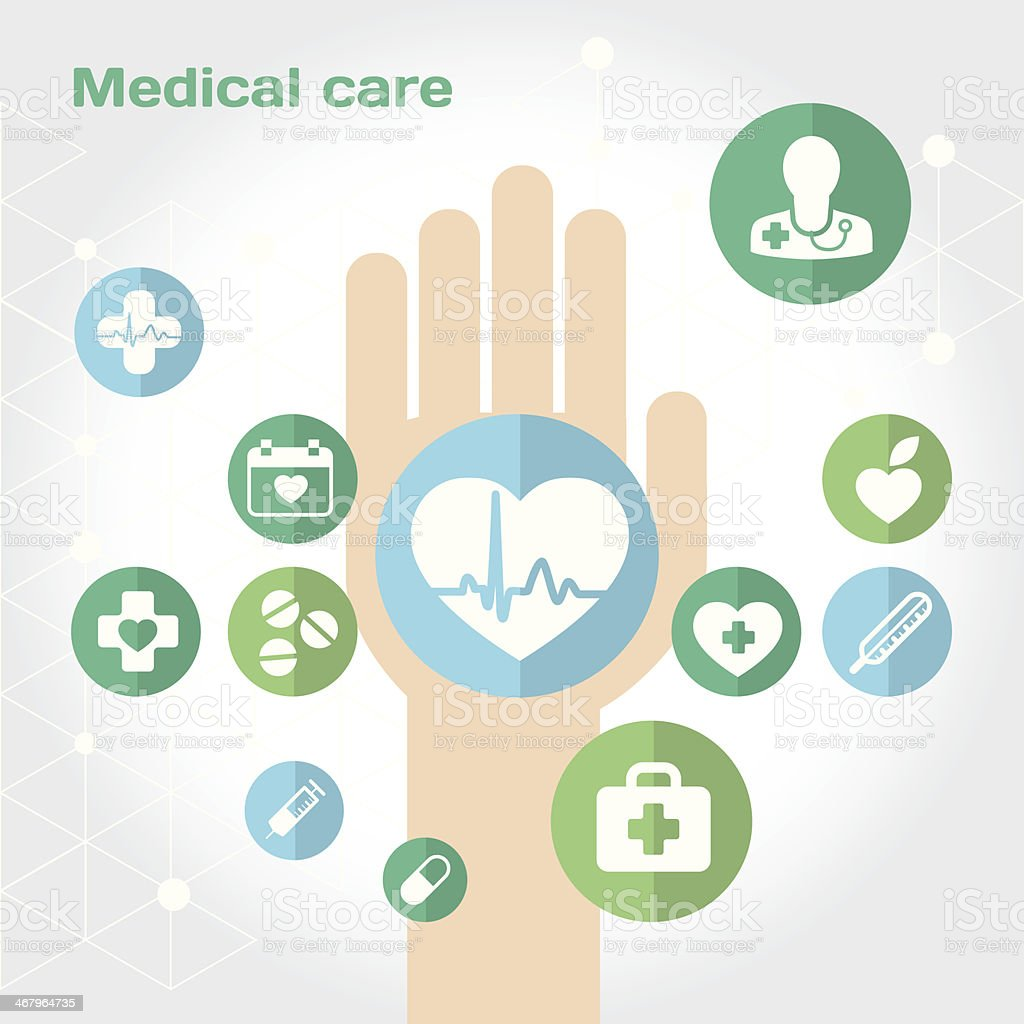 Medical care flat icon composition with hand vector art illustration