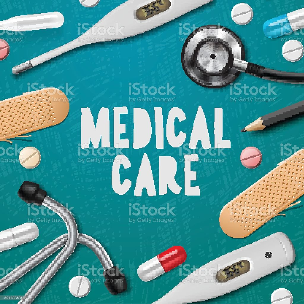 Medical care, medicine template vector art illustration