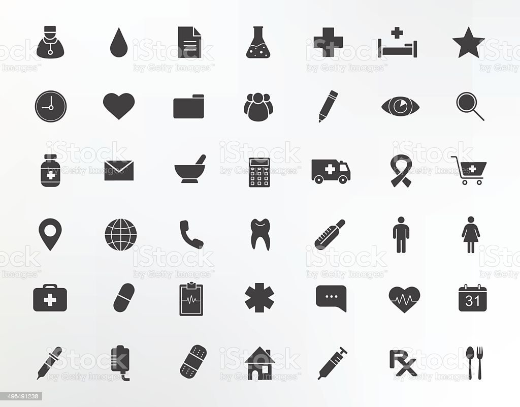 Medical center silhouettes icons set vector art illustration