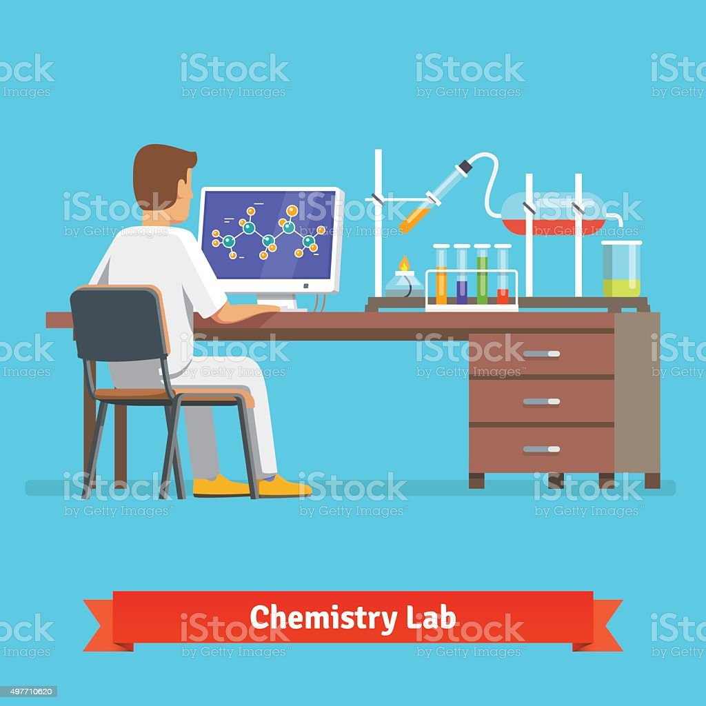 Medical chemistry lab worker researching vector art illustration