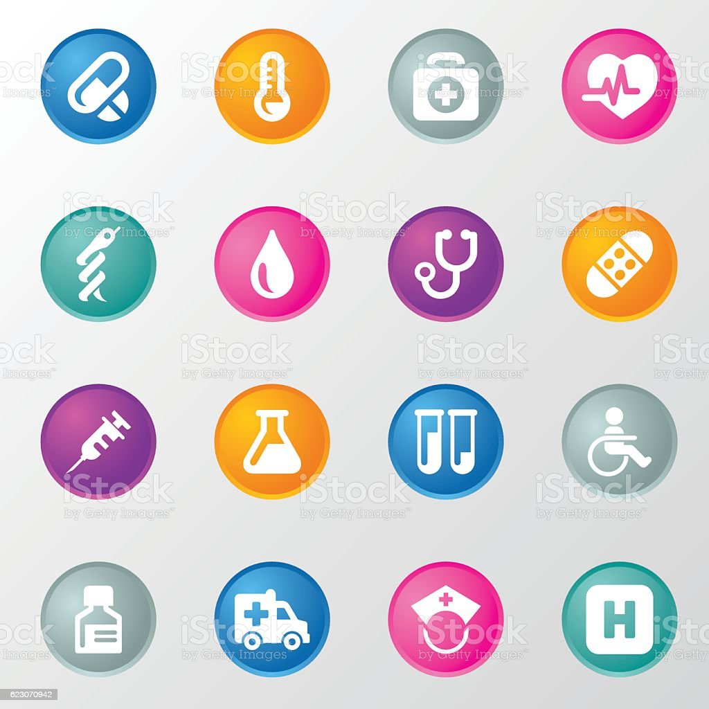 Medical Circle Color Icons vector art illustration