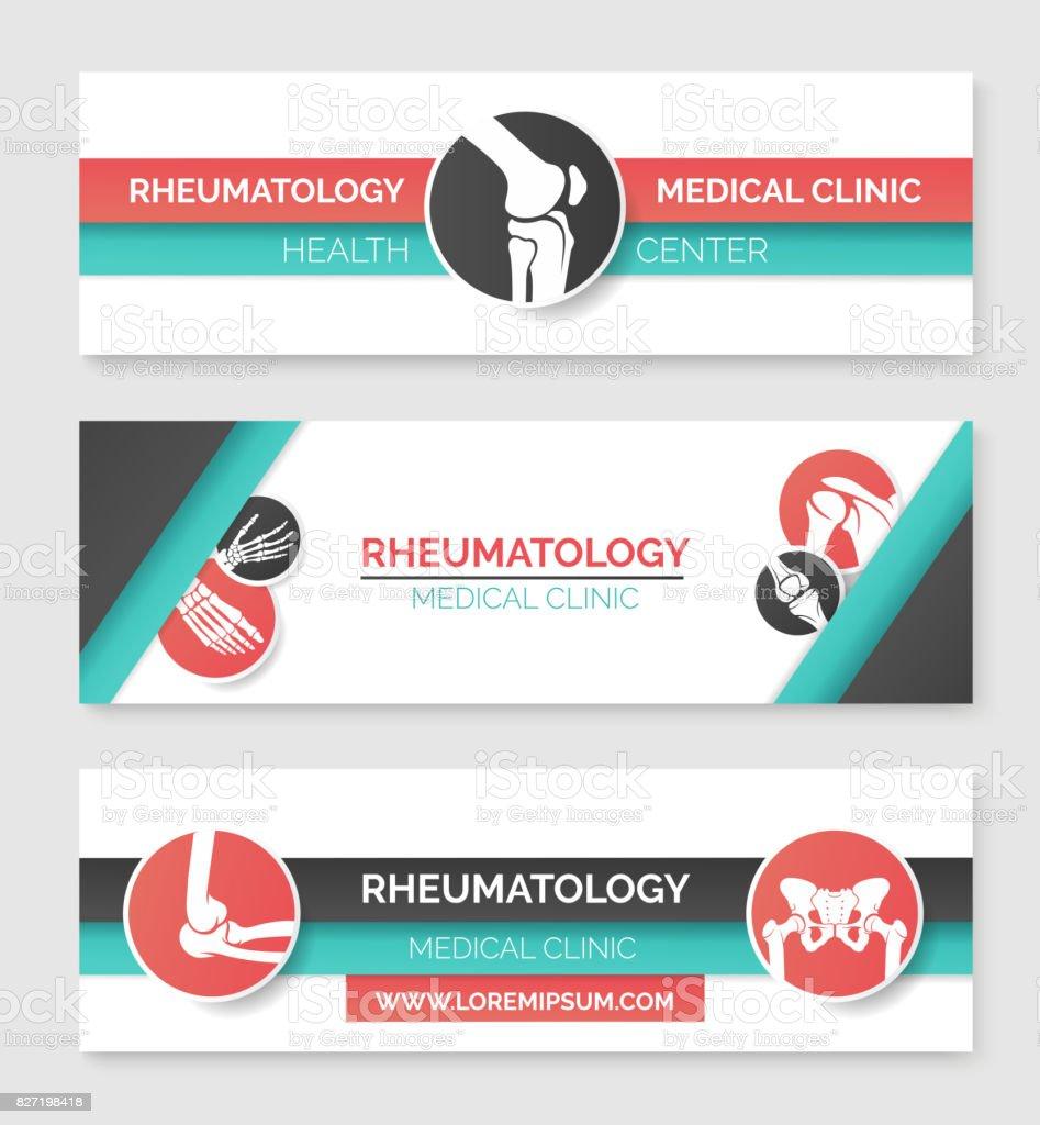 Medical clinic, health center banner template set vector art illustration