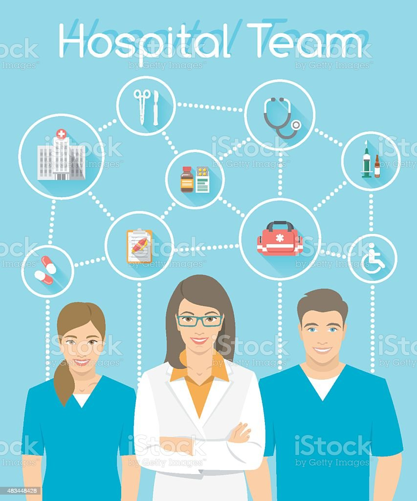 Medical clinic staff doctor and nurses infographics element vector art illustration