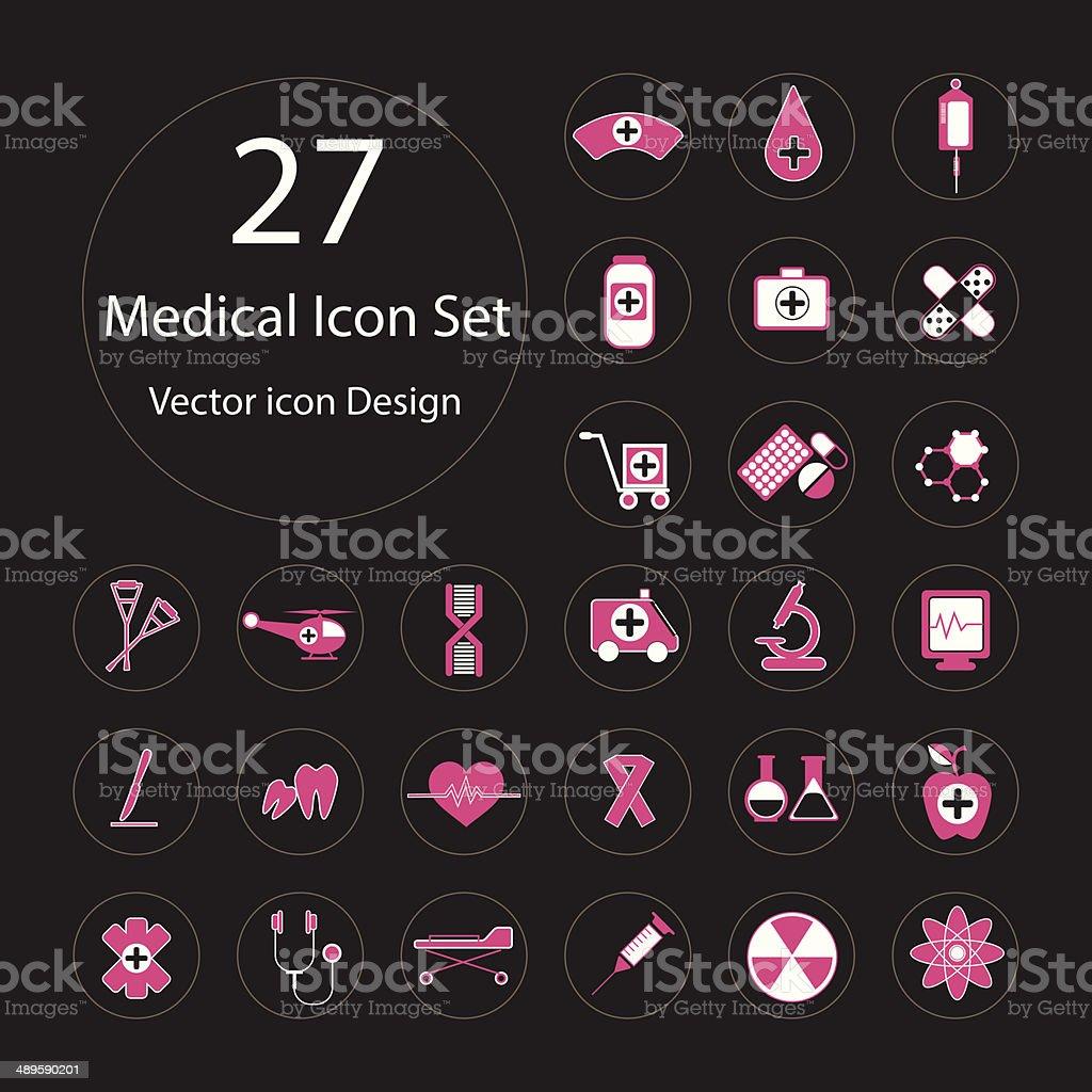Medical color icon set.Vector illustration. vector art illustration